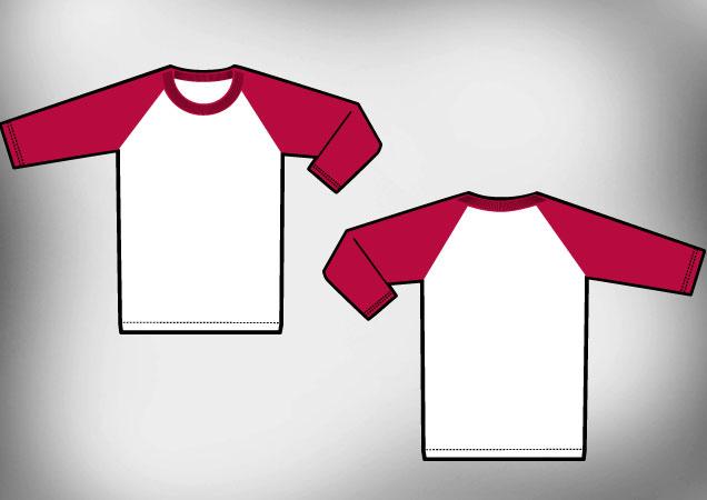 Raglan t-shirt template vector T-shirt Template